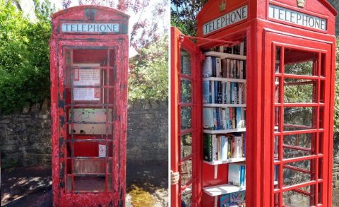 Photos of phone box before and after refurbishment
